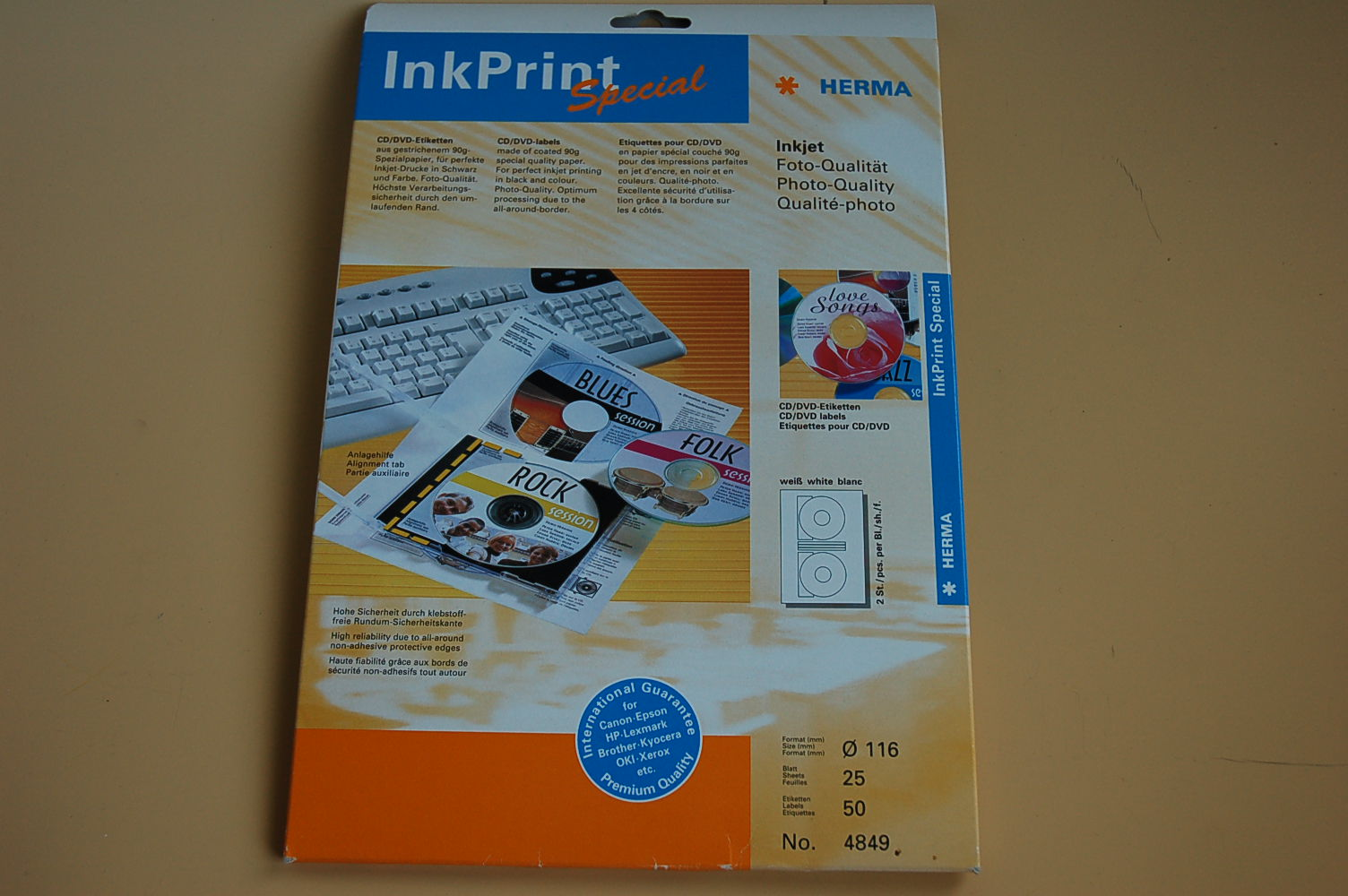 Herma InkPrint CD/ DVD Etiketten Ø116mm 25 Bl. 4849 (10Bl.=4,80€)