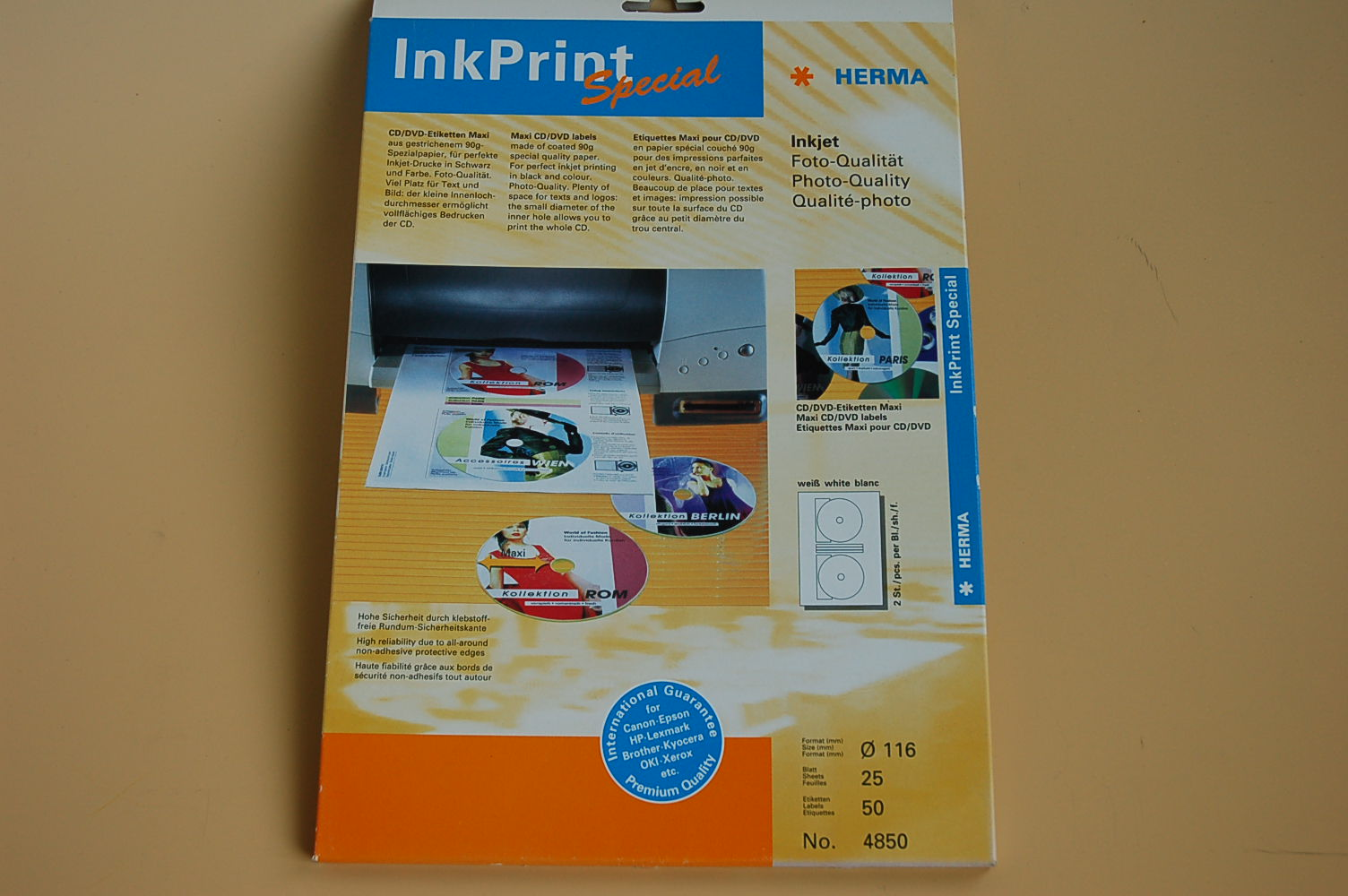 Herma InkPrint CD/ DVD Etiketten Maxi Ø116mm 25 Bl. 4850 (10Bl.=4,80€)